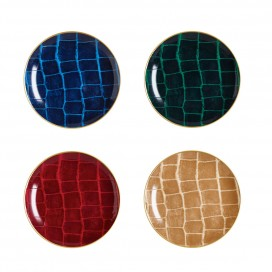 Prouna Alligator Colors Coupe Plate, Assorted colors, Set of 4