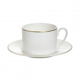Prouna Alligator White Tea cup & Saucer, Set of 2