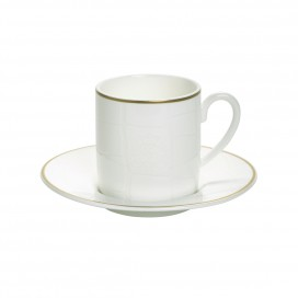 Prouna Alligator White Espresso Cup & Saucer, Set of 2