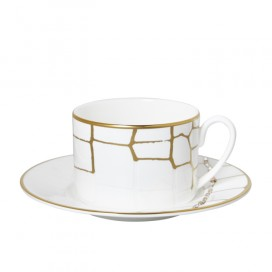 Prouna Alligator Gold Tea cup & Saucer Crystals, Set of 2