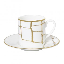Prouna Alligator Gold Espresso Cup & Saucer Crystals, Set of 2