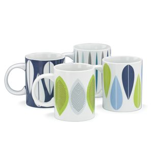 Dansk BURBS DECAL BLUE DW MUGS S/4