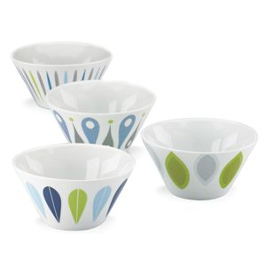 Dansk BURBS DECAL BLUE DW PARTY BOWLS S/4
