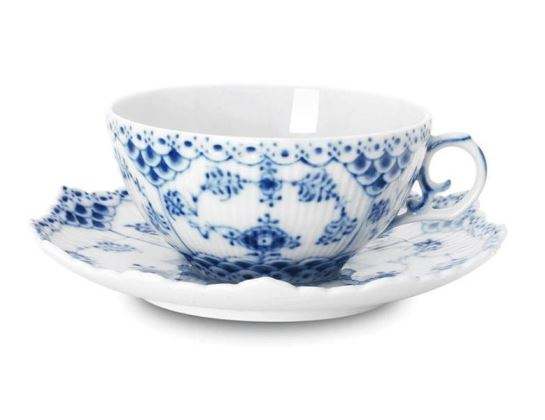 Royal Copenhagen BLUE FLUTED FULL LACE TEA CUP & SAUCER