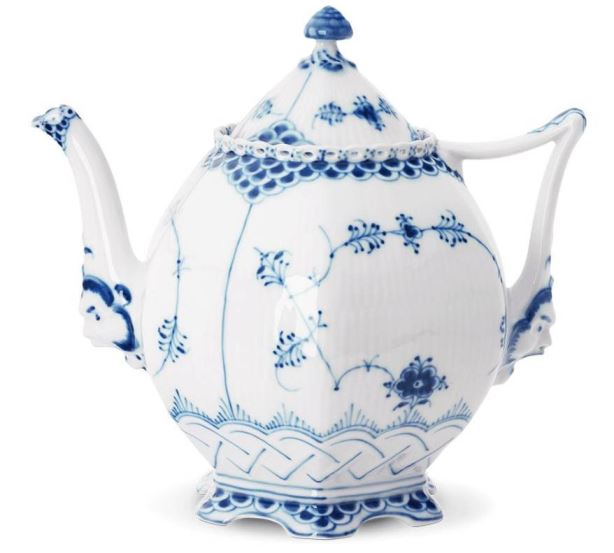 Royal Copenhagen BLUE FLUTED FULL LACE TEA POT