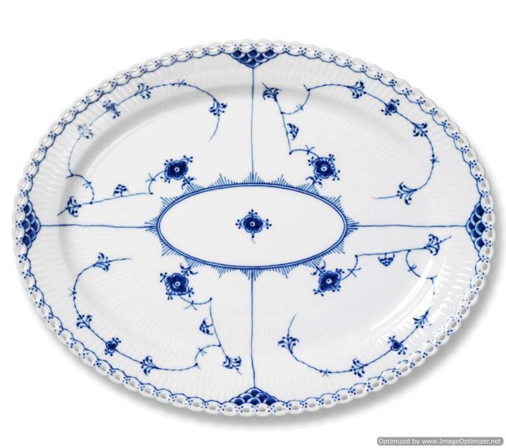 Royal Copenhagen BLUE FLUTED FULL LACE OVAL PLATTER LARGE