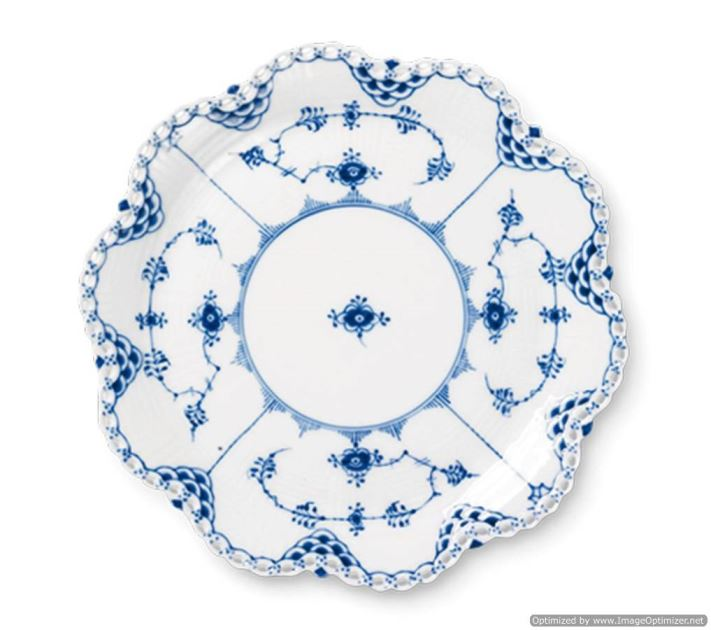 Royal Copenhagen BLUE FLUTED FULL LACE ROUND DISH 9.75