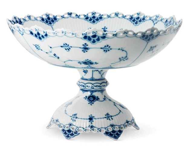 Royal Copenhagen BLUE FLUTED FULL LACE FOOTED COMPOTE
