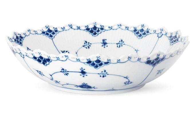 Royal Copenhagen BLUE FLUTED FULL LACE SERVING BOWL 11