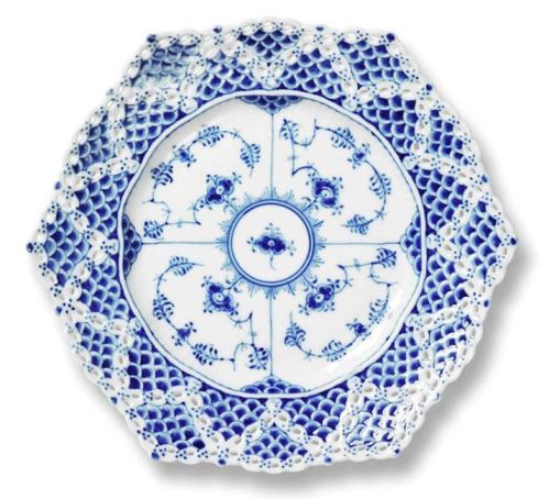 Royal Copenhagen BLUE FLUTED FULL LACE CAKE PLATE 8.25