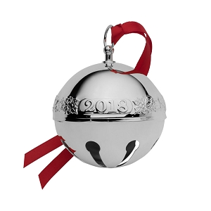Wallace 2018 Silver-plate Sleigh Bell - 48th Edition (Holly & Santas)