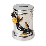 Classic Touch Stainless Frangipani Black and Gold Round Charity Box