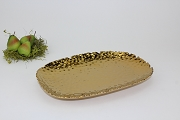 Pampa Bay Monaco Titanium-Plated Porcelain Gold Tone Ceramic Beaded Med Rect Platter, 11 in. x 7.5 in.