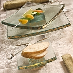 Annieglass Slab Gold 5 x 5 in.   sq. truffle stand