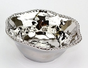 Verona Titanium-Plated Porcelain Ceramic Beaded Medium Snack Bowl, 6.5 in. x 2.5 in.