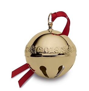 Wallace 2018 Gold-plate Sleigh Bell - 29th Edition (Holly & Santas)