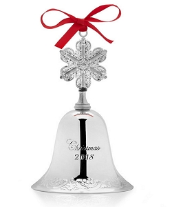 Wallace 2018 Silver-plate Grande Baroque Bell Ornament - 24th Edition (Snowflake Finial)