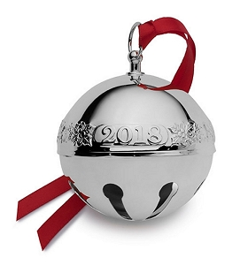 Wallace 2018 Sterling Sleigh Bell - 24th Edition (Holly & Santas)