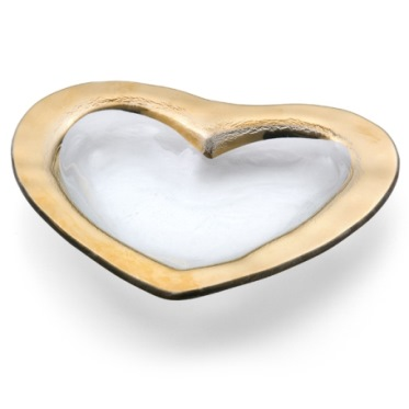 Annieglass Hearts 8'' heart bowl - Gold