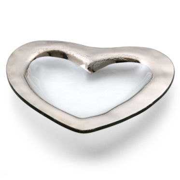 Annieglass Hearts 8'' heart bowl - platinum