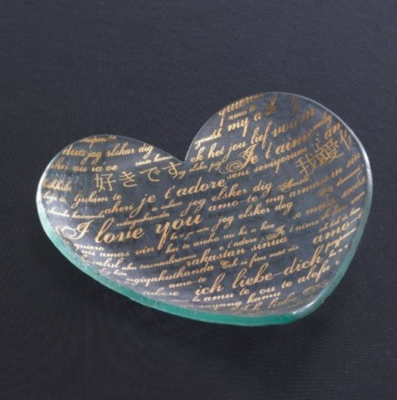 Annieglass Hearts 7'' heart plate Sweet Nothings - Gold