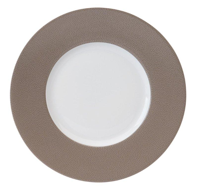 Philippe Deshoulieres Seychelles taupe dinner plate large rim