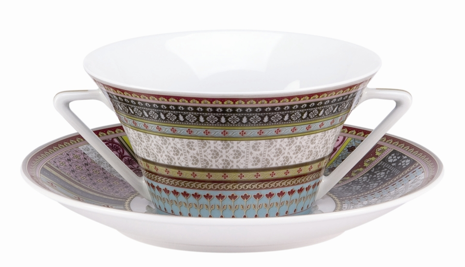 Philippe Deshoulieres Ispahan cream soup saucer