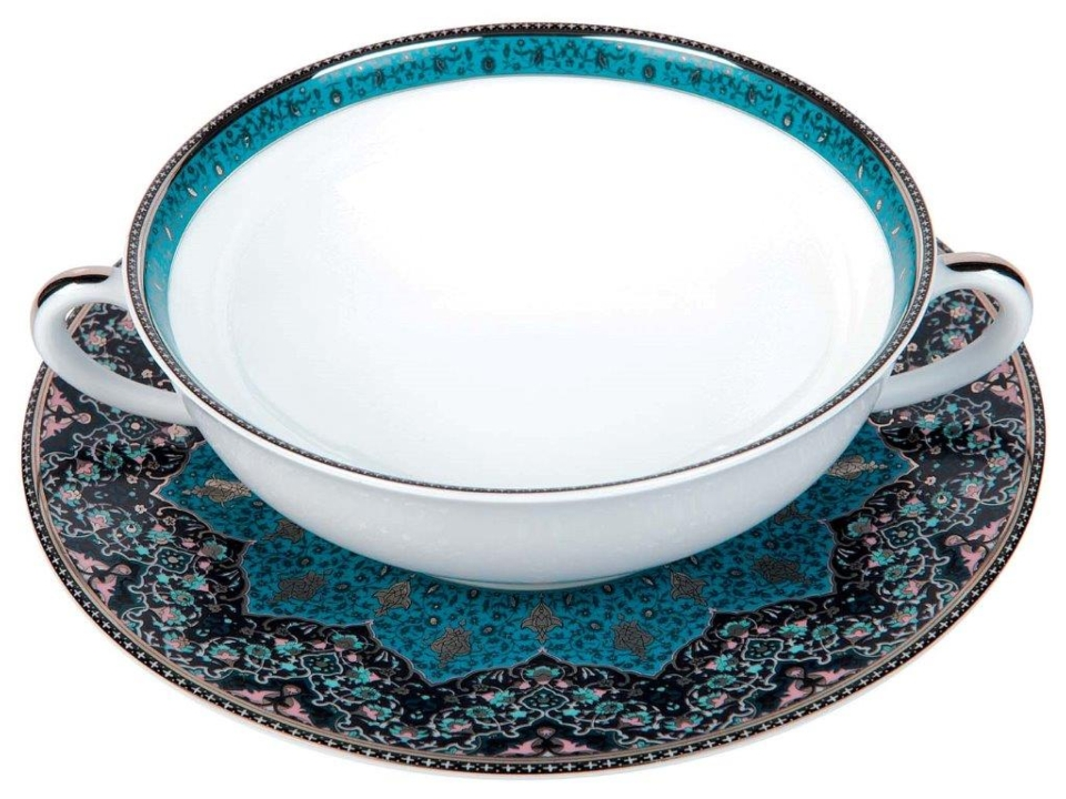 Philippe Deshoulieres Dhara Peacock cream soup saucer