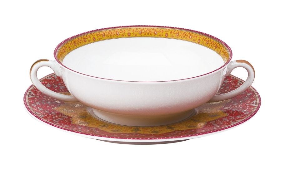 Philippe Deshoulieres Dhara red cream soup saucer