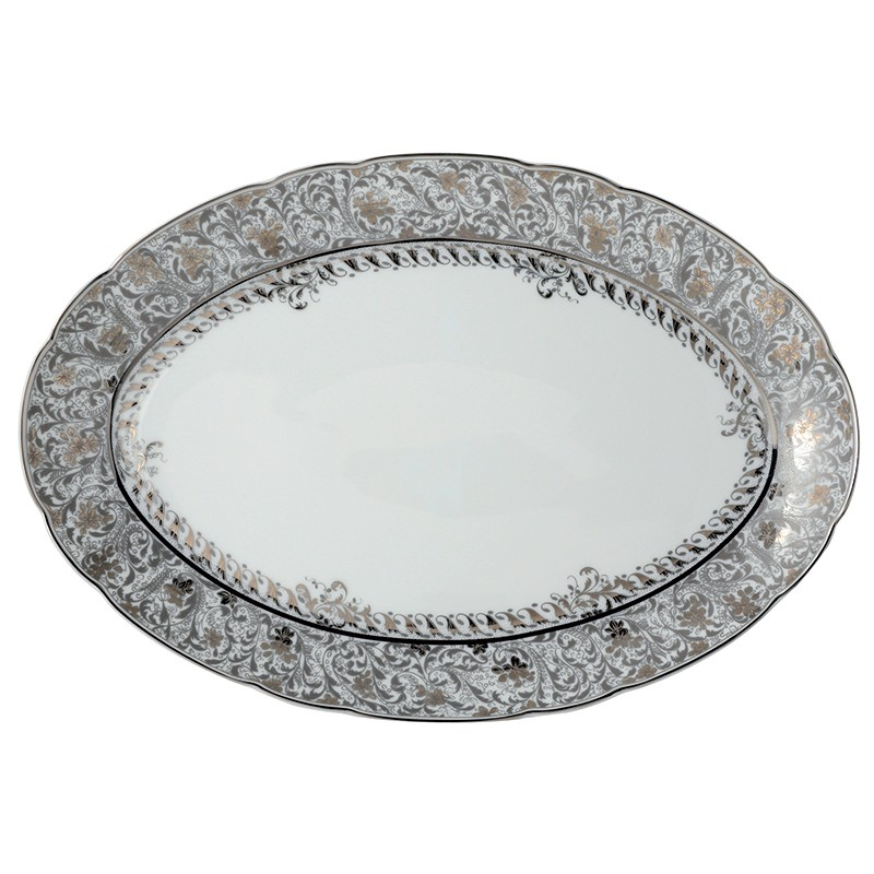 Bernardaud Eden Platinum Oval Platter - 15 In