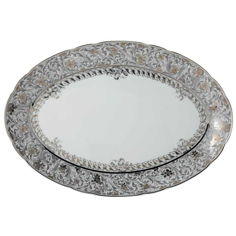Bernardaud Eden Platinum Oval Platter - 13 In