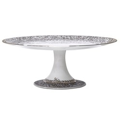 Bernardaud Eden Platinum FOOTED CAKE PLATTER