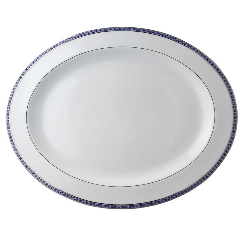 Bernardaud Athena Platinum Navy Oval Platter - 15 In