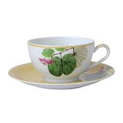 Bernardaud JARDIN INDIEN BREAKFAST CUP & SAUCER JUMBO- SET OF 2