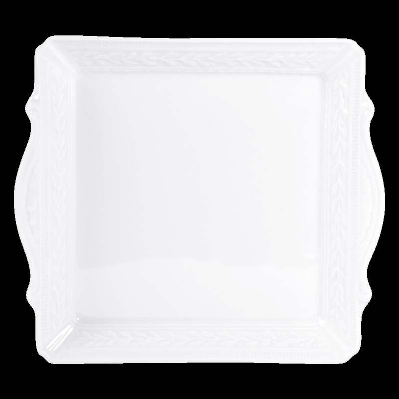 Bernardaud Louvre Square Handled Tray - 10.6 X 9.5 In