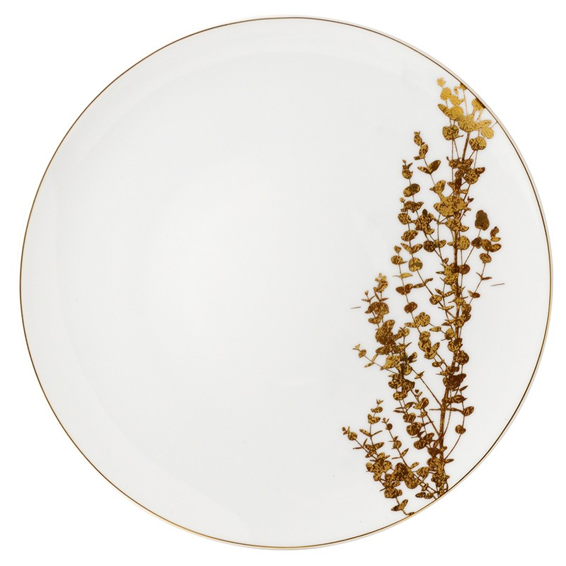 Bernardaud Vegetal Gold Coupe Dinner Plate - 10.2 In