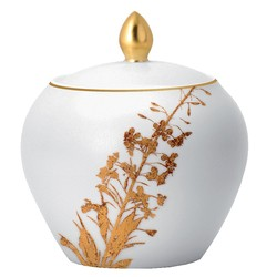 Bernardaud Vegetal Gold Sugar Bowl (Boule Shape)