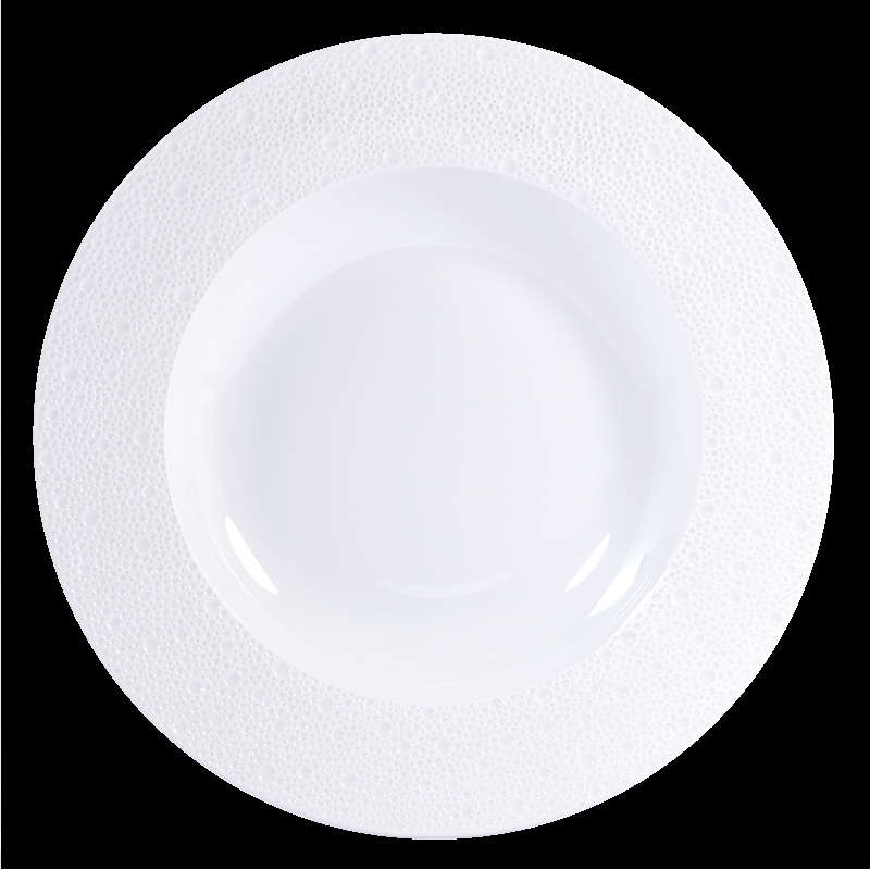 Bernardaud Ecume White Rim Soup - 11.6 In