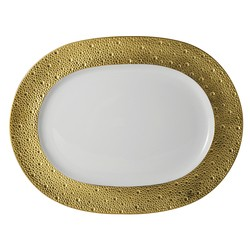 Bernardaud Ecume Gold Oval Platter - 13.8 In
