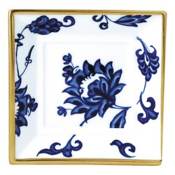 Bernardaud PRINCE BLEU SQUARE ASHTRAY- 4.5 inX4.5 in