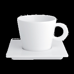 Bernardaud FUSION WHITE TEA CUP AND SQUARE SAUCER