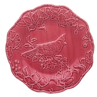 Bordallo Pinheiro Artichoke and Bird Plate 25,5 Cardinal