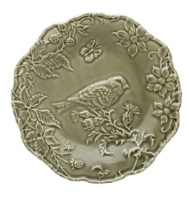 Bordallo Pinheiro Artichoke and Bird Plate with Goldfish 25,5