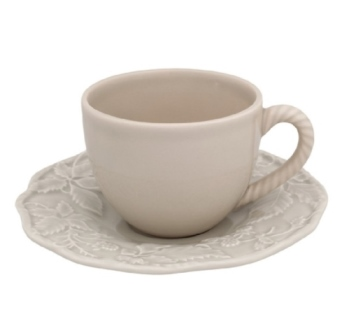 Bordallo Pinheiro Artichoke and Bird Tea Cup and Saucer