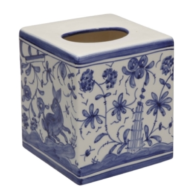 CASAFINA BATH - 17TH CENTURY BOUTIQUE TISSUE BOX, BLUE/WHITE