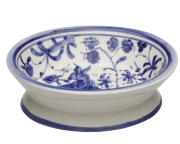 CASAFINA BATH - 17TH CENTURY SOAP DISH, BLUE/WH