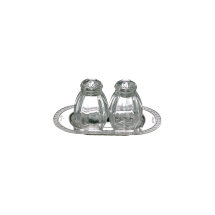 Christofle MALMAISON Salt and Pepper on Tray, Sterling Silver Silverplate