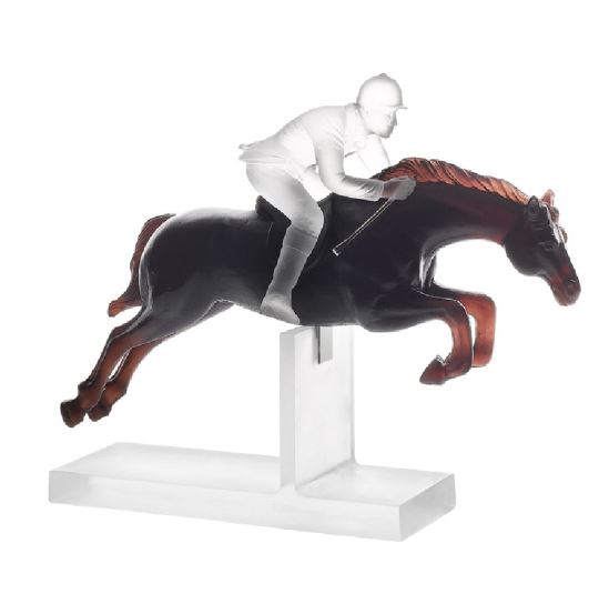 Daum Horse Black and white jockey  10.8 in. 1000 edition limit