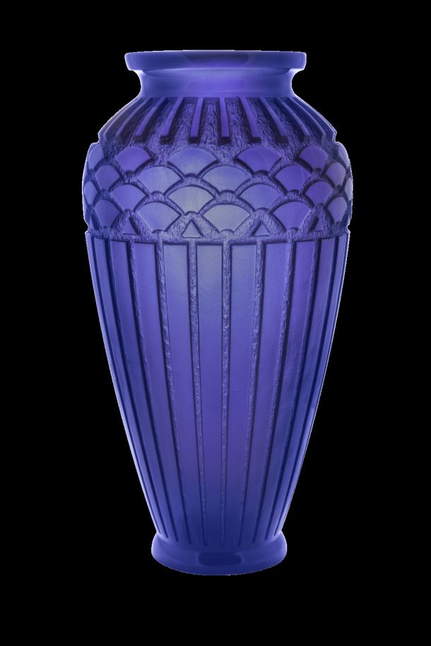 Daum  Rhythms Large blue vase  20.4 in.