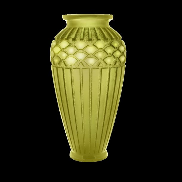 Daum  Rhythms Large green olive vase  20.4 in.